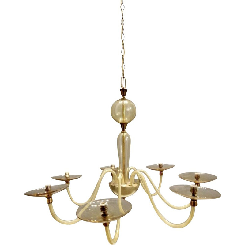 Mid century glass chandelier by Paolo Venini for Murano, 1950