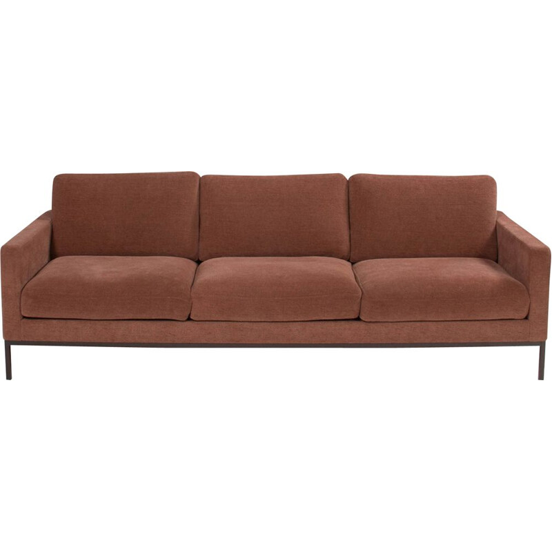 Dark pink vintage recliner sofa with solid wood interior frame by Florence Knoll, 1954s