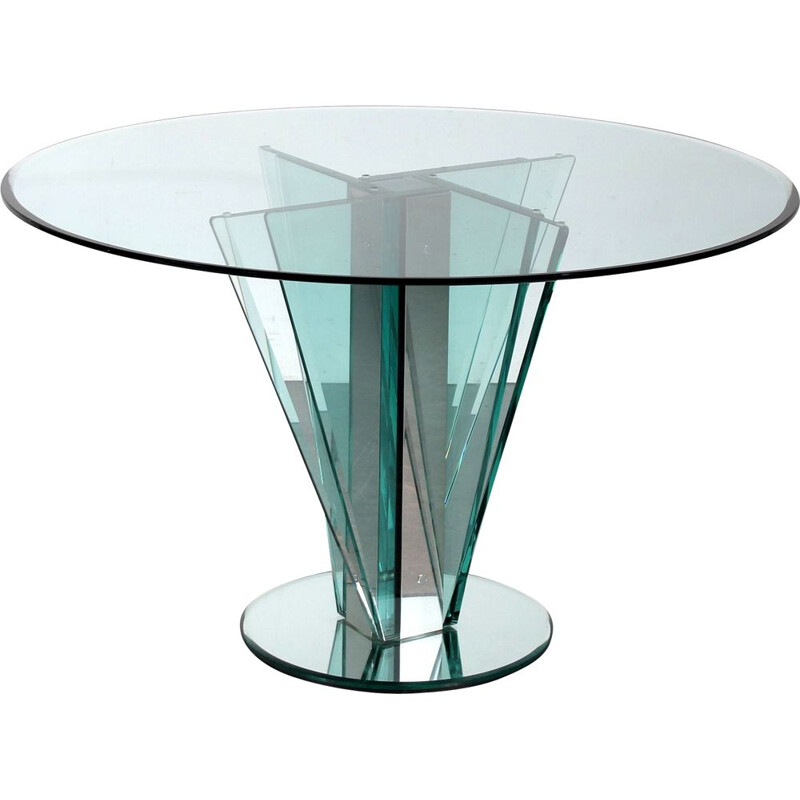 Vintage nile glass table by Pietro Chiesa for Fontana Arte, Italy 1970s