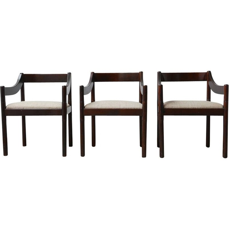 Mid century carimate dining armchairs with upholstered seat by Vico Magisretti, Italy 1960s