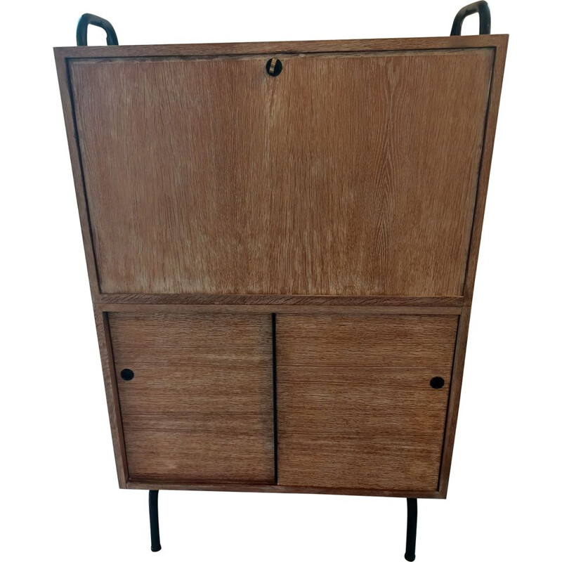 Vintage oak secretary with burgundy lacquer interior France 1950
