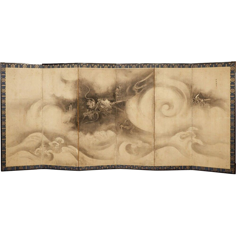 Vintage six-panel screen with leaping tiger and bamboo, 17th century Japan