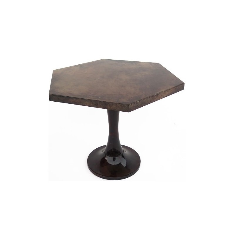 Mid-century side table in brown parchment, Aldo TURA - 1970s