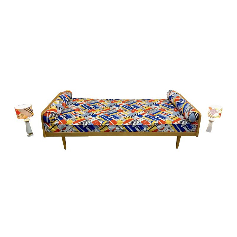 Vintage beech daybed sofa with two matching lamps, 1950