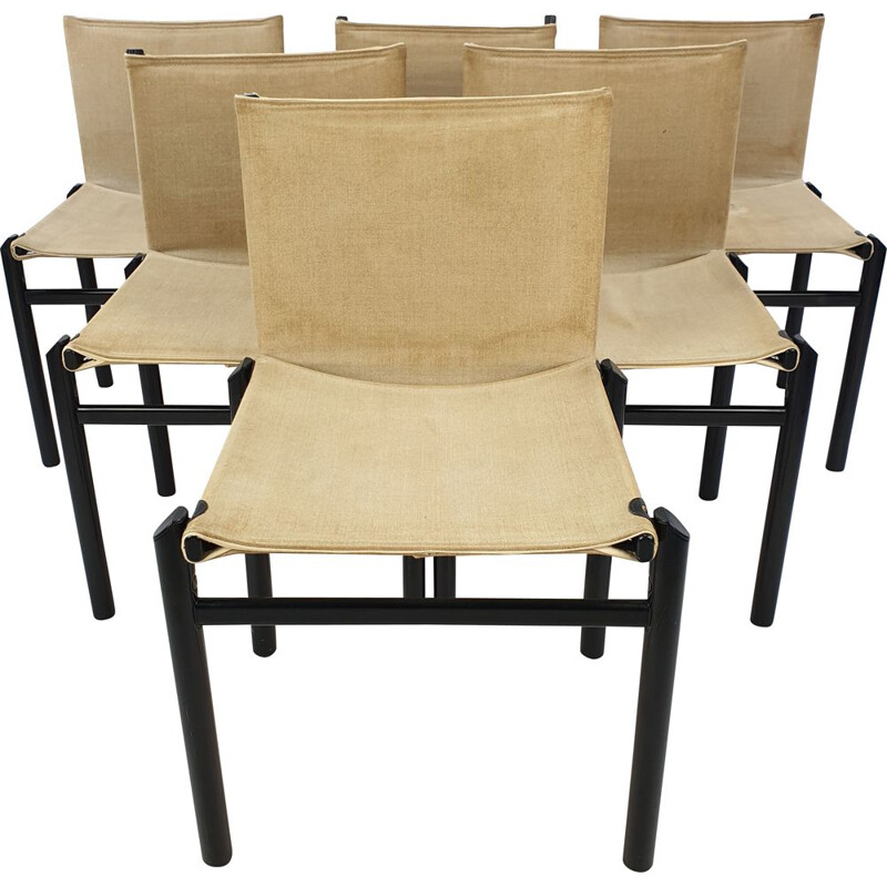6 vintage dining chairs by Afra & Tobia Scarpa, Italy 1970s
