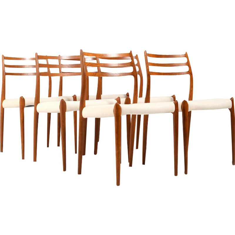 6 vintage dining chairs in teak model No.78 by Niels O. Moller, 1960s