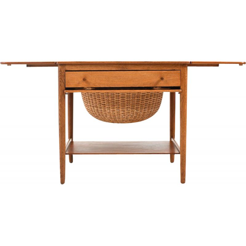Vintage sewing table model AT-33 in teak and oak by Hans J. Wegner for Andreas Tuck, Danish 1950s