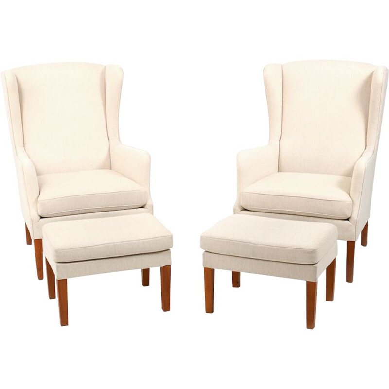 Pair of wingback lounge vintage chairs incl.Ottoman, Danish 1970s