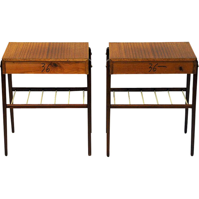 Pair of vintage teak and brass night and side tables, Sweden 1960s