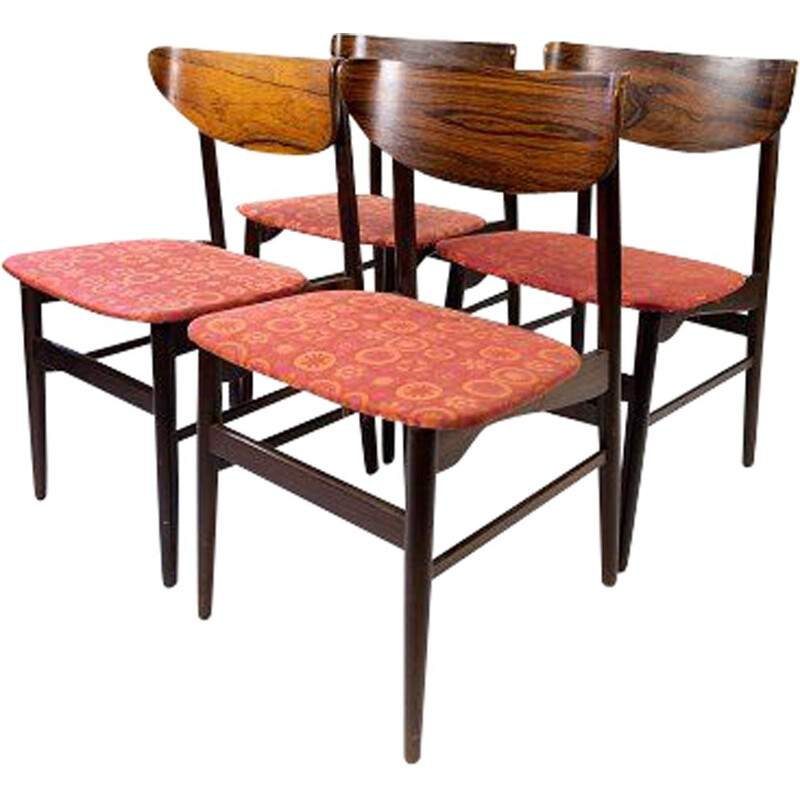4 vintage dining room chairs in rosewood and upholstered with red fabric, Denmark 1960s
