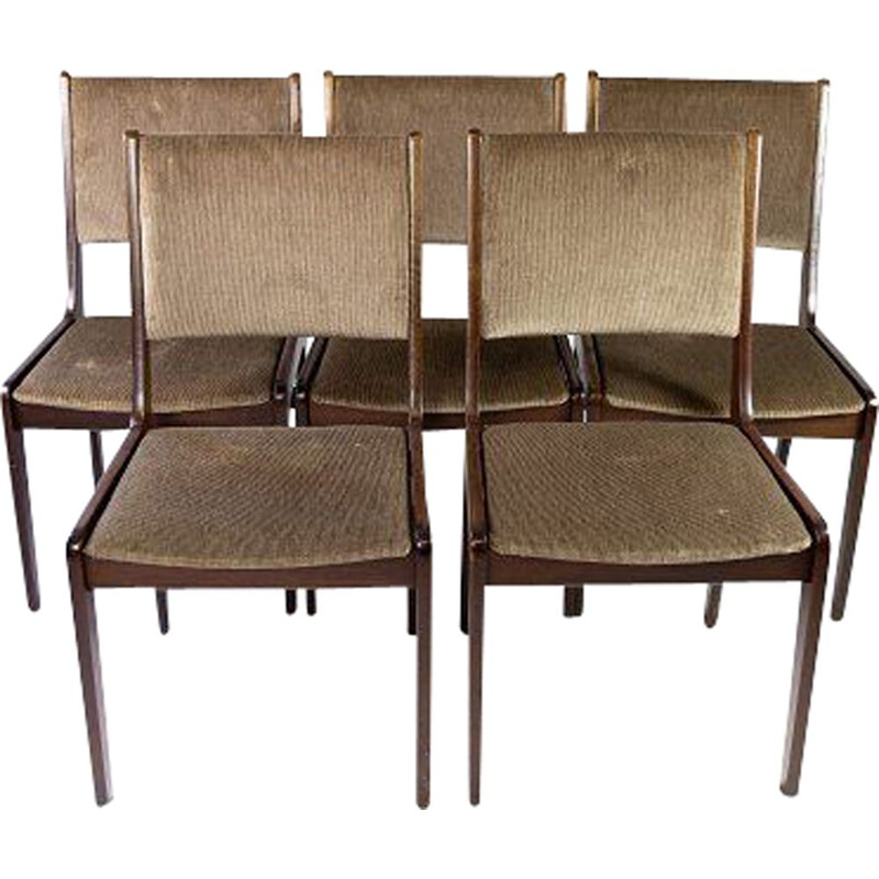 Set of 4 vintage dining room chairs in dark by Farstrup, Denmark 1960s
