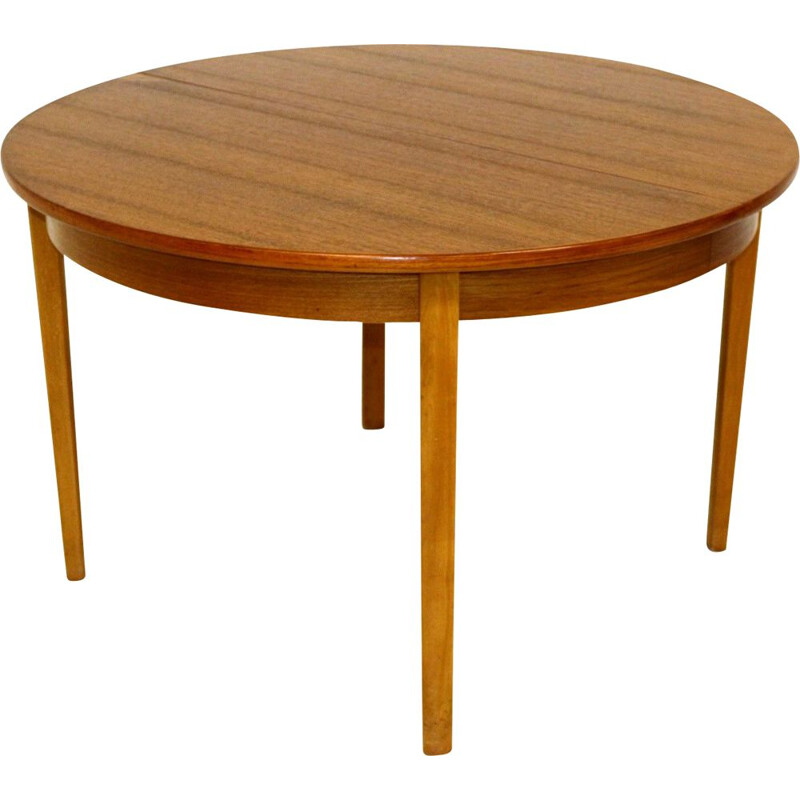 Mid century teak dining table with 3 extensions of 40cm each , Norway 1960