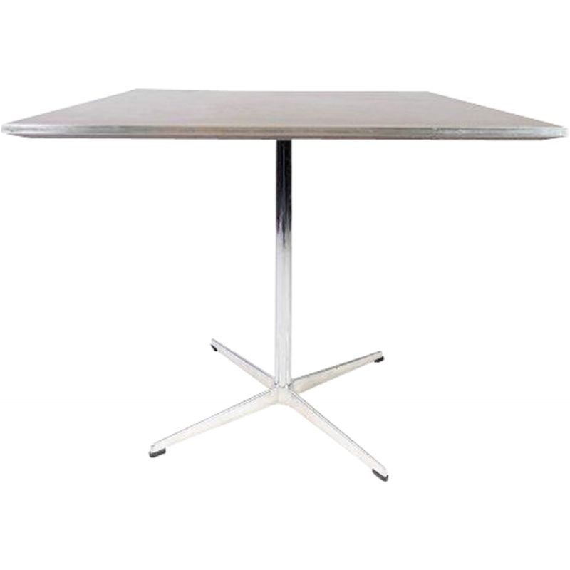 Vintage dining table of metal and laminate, by Arne Jacobsen for Fritz Hansen