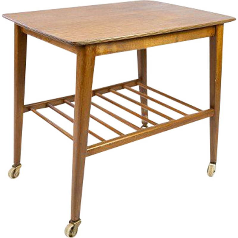 Vintage teak side table with shelf and casters Denmark 1960s