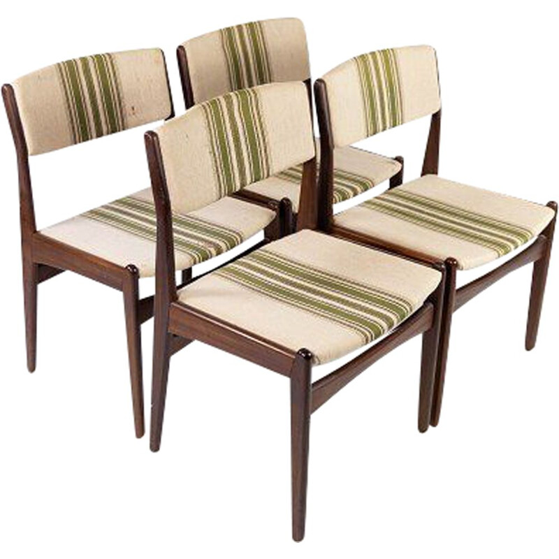 Set of 4 vintage teak chairs upholstered in striped fabric by Erik Buch 1960s