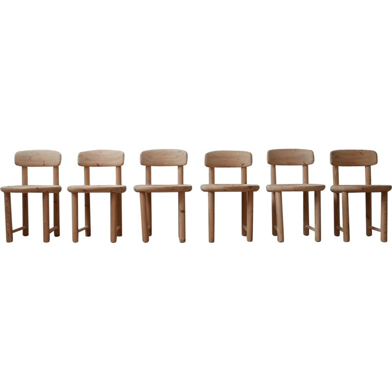 Set of 6 vintage pine chairs by Rainer Daumiller