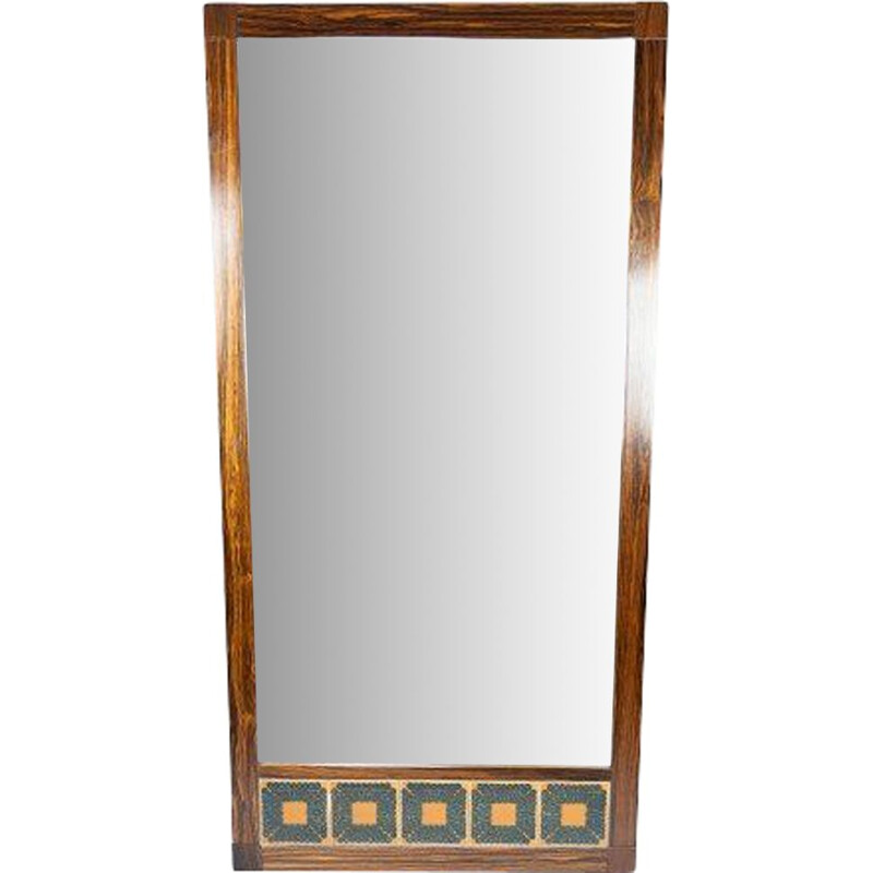 Vintage mirror in rosewood and tiles Denmark 1960s