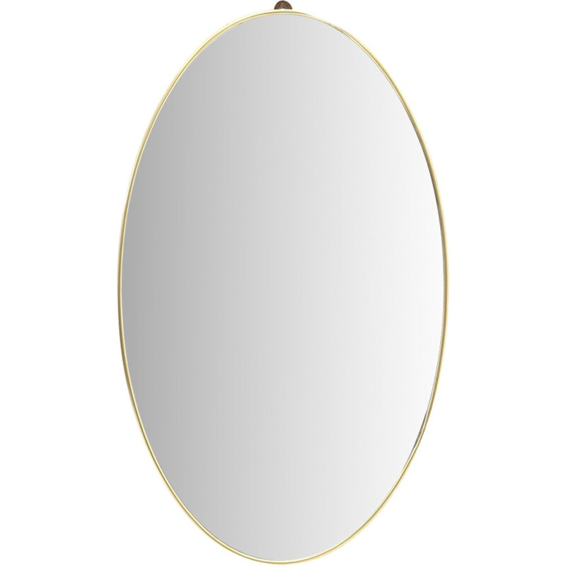 Vintage oval mirror with brass frame Italy 1950s