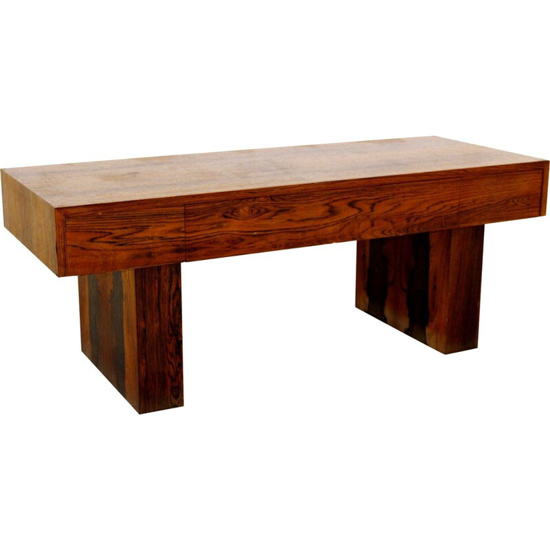 Vintage rosewood console by Glas & Trä Sweden 1960s