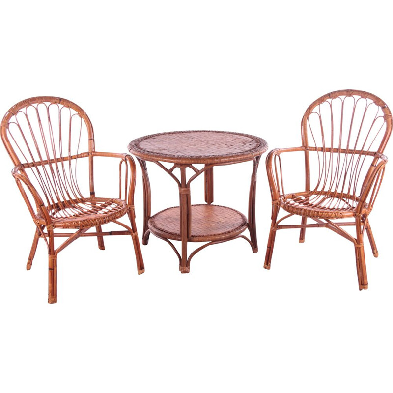 Set of 2 vintage bamboo chairs and table France 1960s