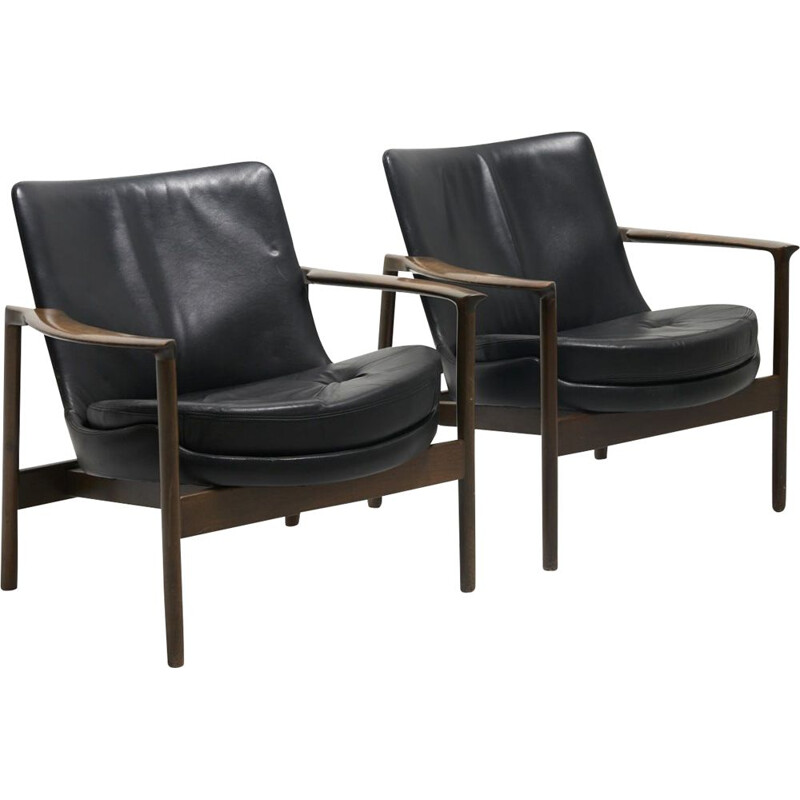 Pair of vintage armchairs by Ib Kofod-Larsen for Fröscher Germany 1970s