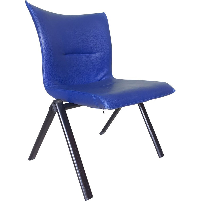 Vintage TECNO chair in blue leather 1980s