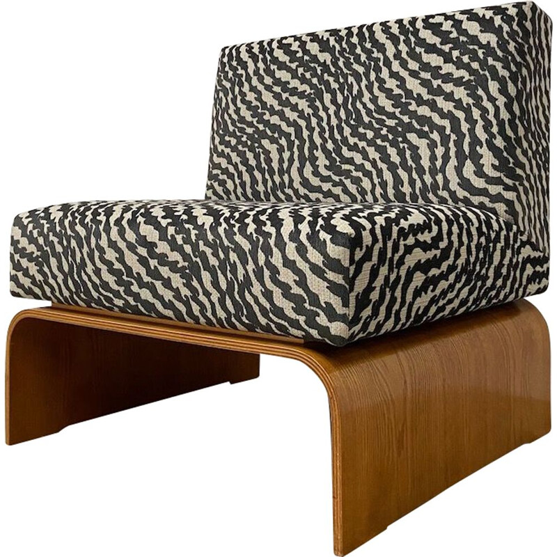Vintage armchair with striped fabric 1960s