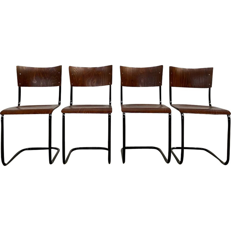 Set of 4 vintage tubular chairs by Martin Stam 1930s