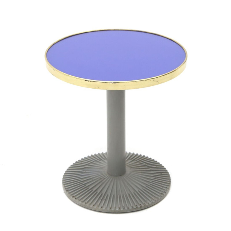 Vintage coffee table with blue glass and brass top, Italy 1980
