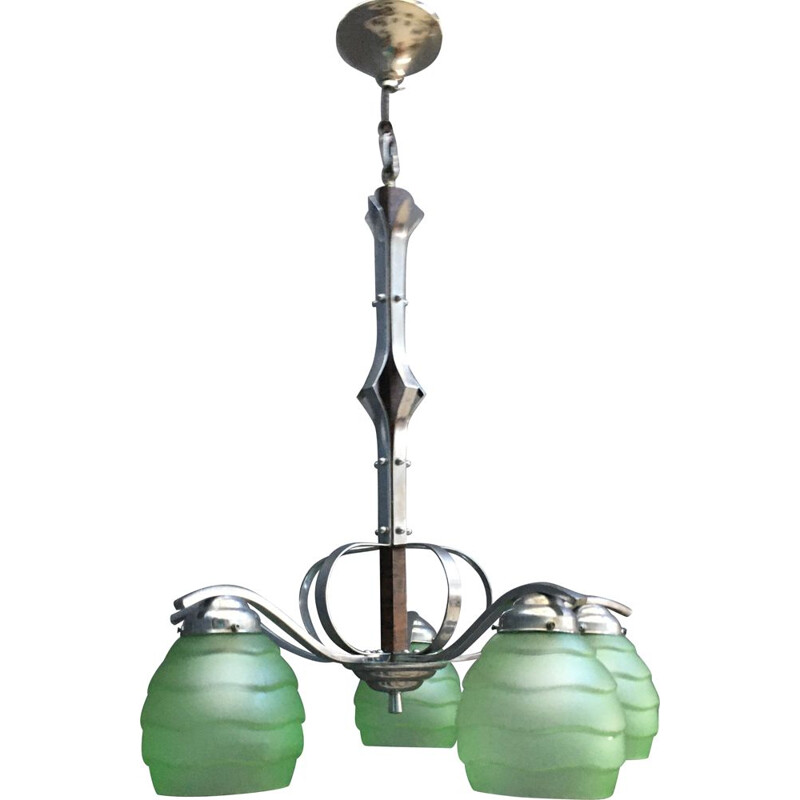 Vintage Art Deco hanging lamp with 5 green glass shades