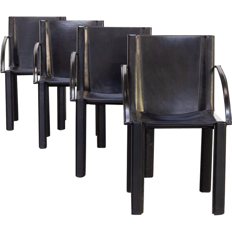 Set of 4 vintage black leather dining chair by Carlo Bartoli for Matteo Grassi 1970