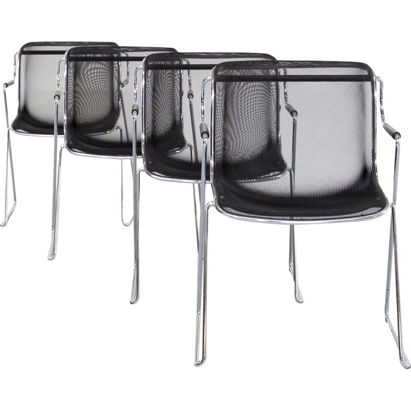 Set of 4 vintage chairs by Charles Pollock Penelope  for Castelli, 1982s