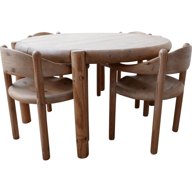 Set of 4 solid pine dining chairs by Rainer Daumiller Sweden, 1970s