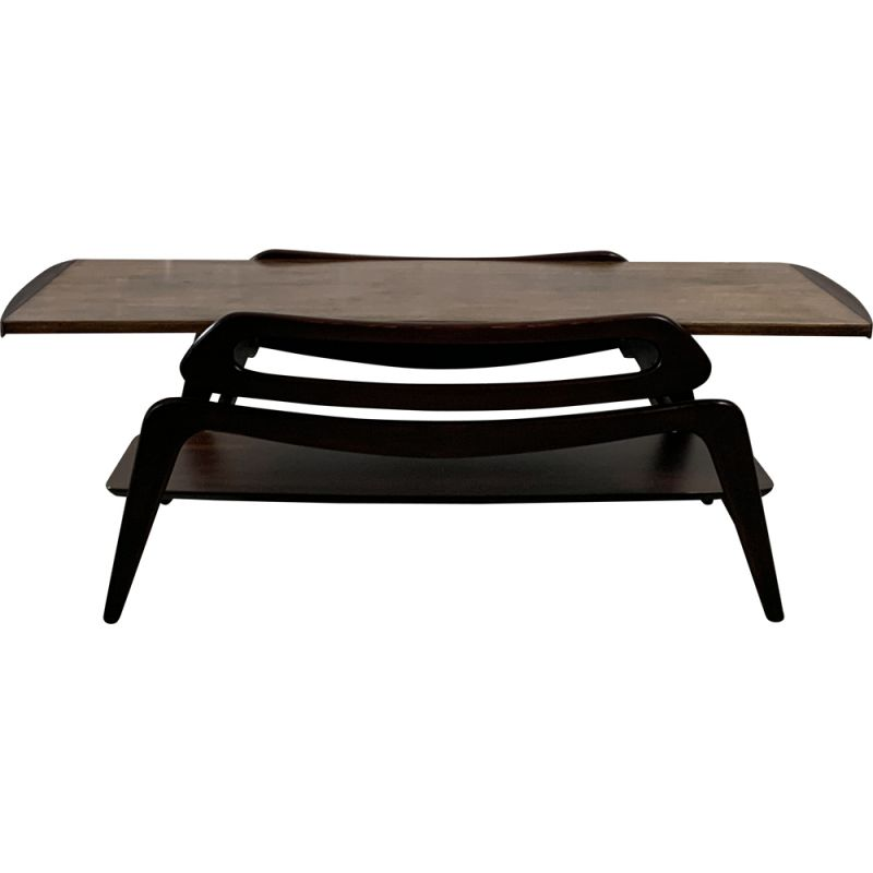 Mid century rosewood coffee table with top is reversable, 1960