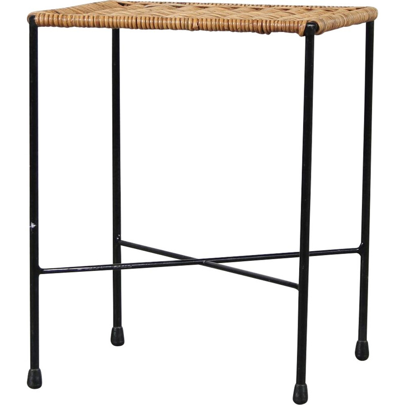 Vintage stool in thin black lacquered tubular meta by Carl Auböck  Austria 1950s