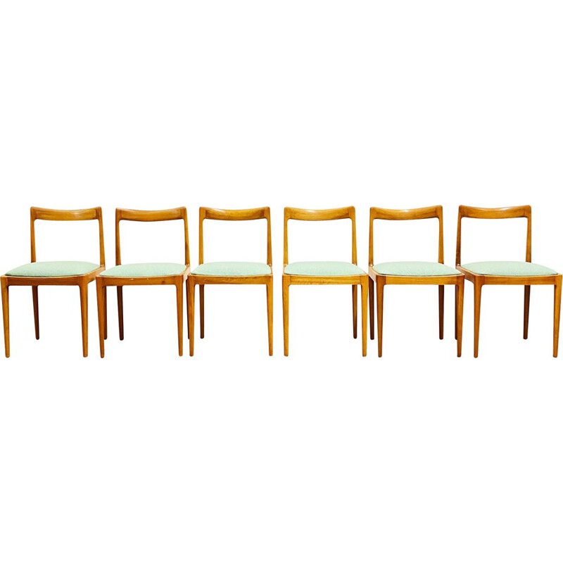 Set of 6 mid century cherry wood dining chairs by Lübke Germany 1960s