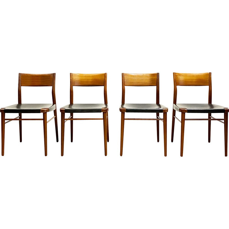 Set of 4 vintage teak dining chairs by Georg Leowald for Wilkhahn Germany 1950s