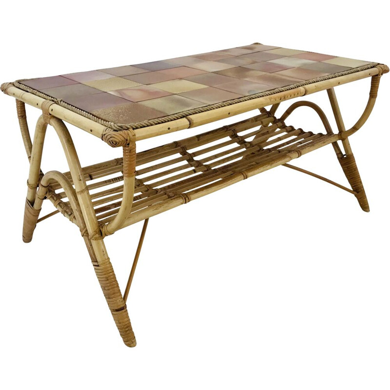 Mid century rattan and ceramic tile coffee table France 1960s