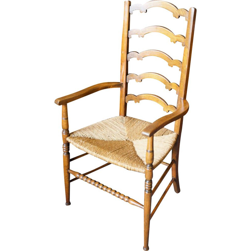 Vintage solid oak chair with ladder back and rush seat, England 1920