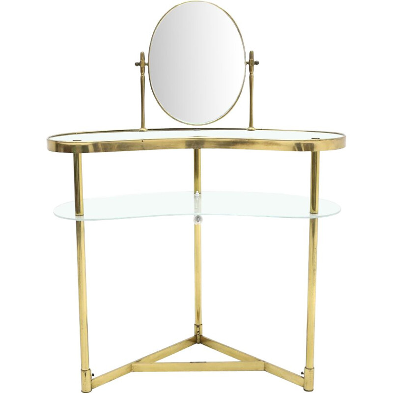 Vintage brass and glass dressing table by Lampadarte 1950