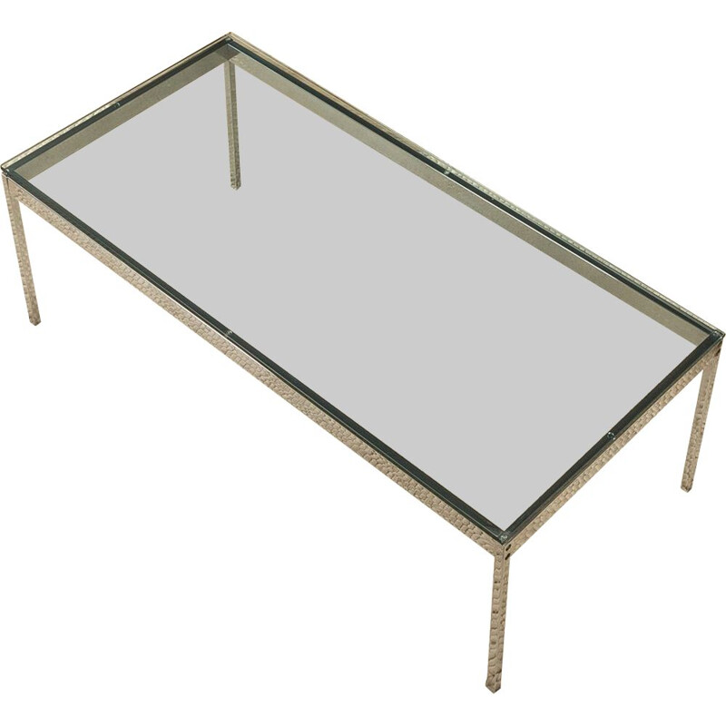 Vintage stainless steel coffee table with glass top, Germany 1970