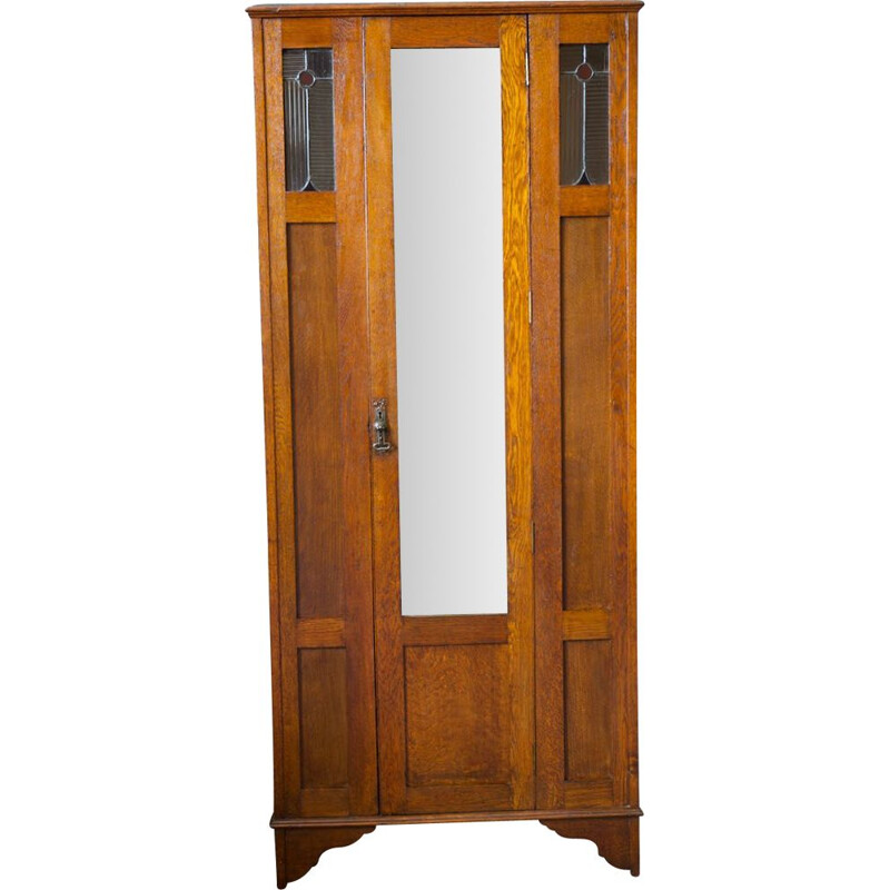 Mid century solid oak Arts & Crafts wardrobe with stained glass detail