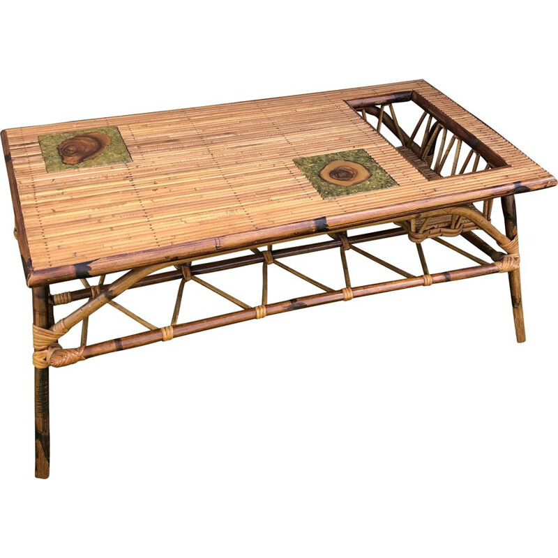 Vintage bamboo coffee table, France 1970