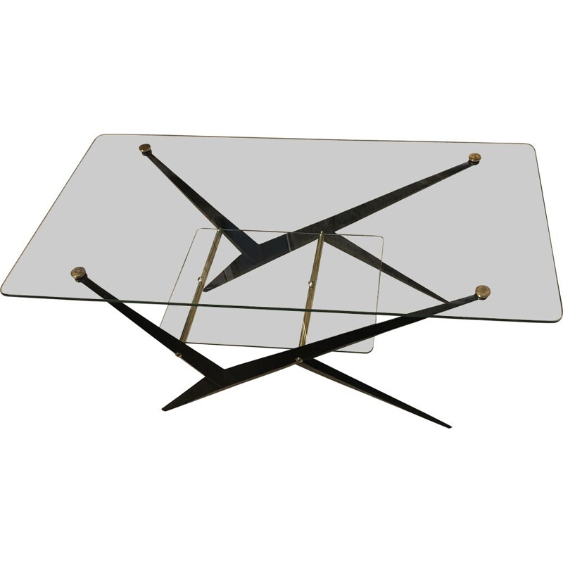 Vintage coffee table in transparent glass by Angelo Ostuni 1955