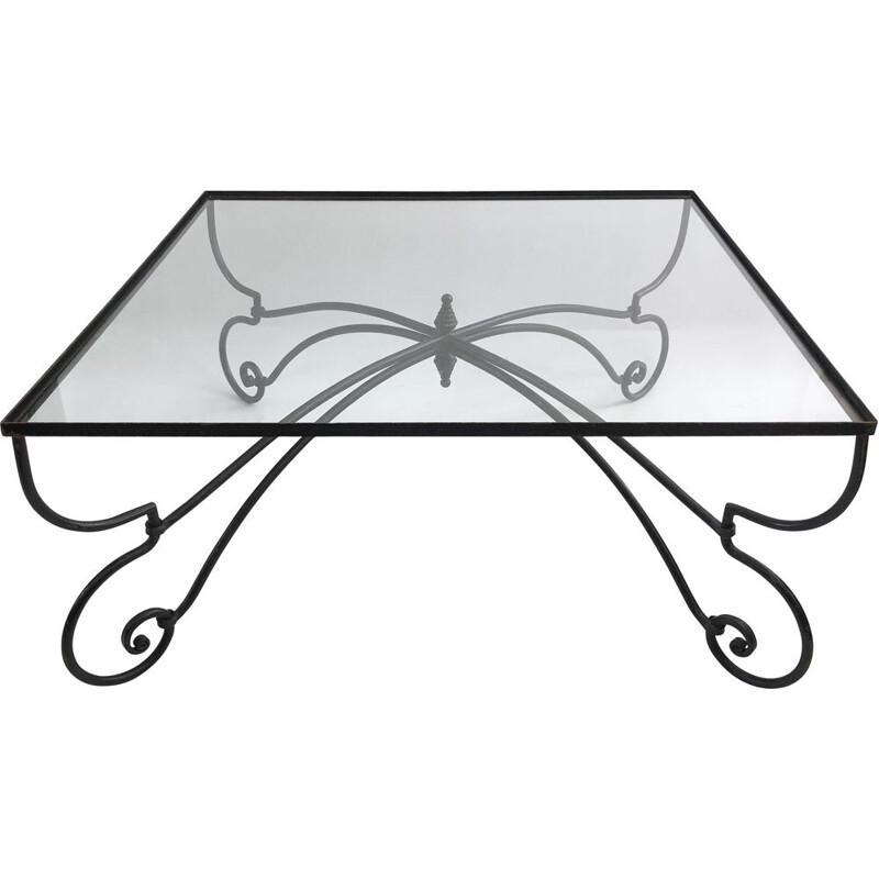 Mid century forged iron & glass square coffee table art nouveau outdoor 1940s