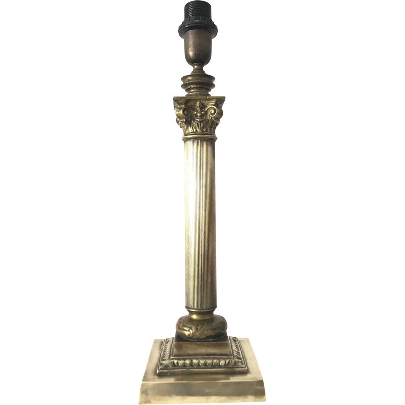 Vintage bronze lamp stand with capitol column, 1950