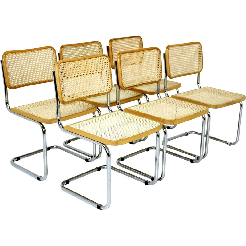 Set of 6 vintage chairs, chromed steel tubular structure, Italy 1970s