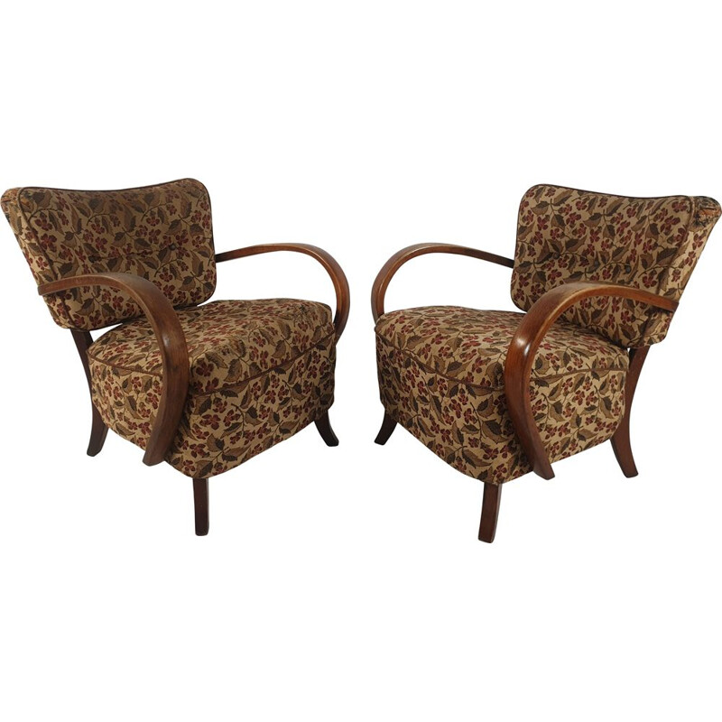 Pair of 2 vintages armchairs H-237 by Jindřich Halabala, 1950s