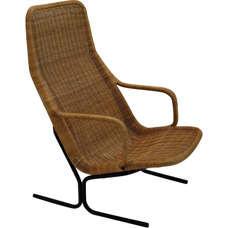 Rohe lounge chair in rattan, Dirk Van SLIEDREGT - 1960s