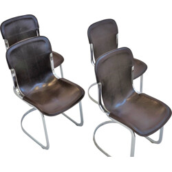 Set of 4 black dining chairs, Willy RIZZO - 1970s